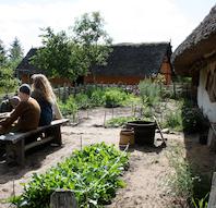 Vikingebonden fodrer dyrene på Ribe VikingeCenter